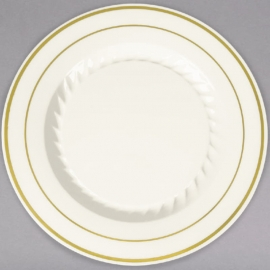 """Fineline Settings Bone Plastic Round Plate 7"""" Plastic Plates With Gold Bands - 507BO - 15/pk"""