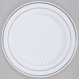 """Fineline Settings White Plastic Round Plate 7"""" Speciality Food Service Supplies With Silver Bands - 507WH - 15/pk"""