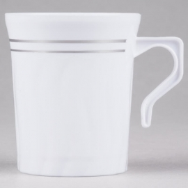Fineline Settings White Plastic Coffee Mug 8oz Plastic Cups - 508WH - 12 x 10/cs