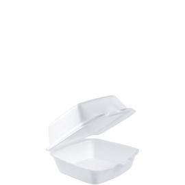 "Dart Insulated White 5"" Sandwich Foam Hinged Container - 50HT1 - 500/cs"