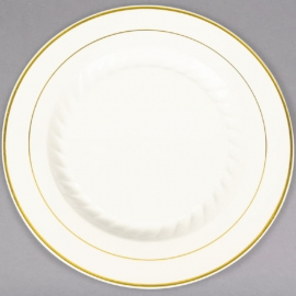 """Fineline Settings Bone Plastic Round Plate 10"""" Speciality Food Service Supplies With Gold Bands - 510BO - 12/pk"""