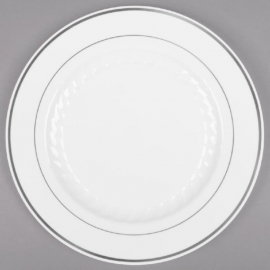 """Fineline Settings White Plastic Round Plate 10"""" Speciality Food Service Supplies With Silver Bands - 510WH - 12/pk"""