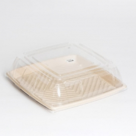 "Sabert Clear Square Lid fits 14"" Pulp Platters Pulp Food ContainersChinet/Savaday - 52914F025 - 25/cs"