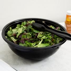 Fineline Settings Black PET Plastic Salad Bowl 320oz Party Supplies - 5320BK - 25/cs
