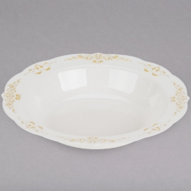 Fineline Settings Bone Plastic Bowl with Gold Trim 10oz Speciality Food Service Supplies - 5901 - 10/pk