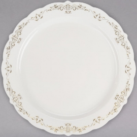 """Fineline Settings Bone Plastic Plate with Gold Trim 10"""" Speciality Food Service Supplies - 5910 - 10/pk"""