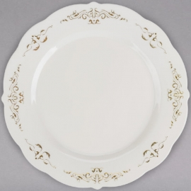 """Fineline Settings Bone Plastic Plate with Gold Trim 7.5"""" Speciality Food Service Supplies - 5975 - 10/pk"""