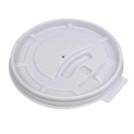 Genpak White Plastic Flat Lid fits 5 oz Plastic Cups - 5HL - 1000/cs