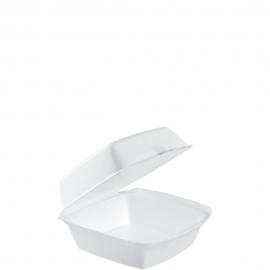 "Dart Insulated White 6"" Sandwich Foam Hinged Container 5.9"" x 6"" x 3"" - 60HT1 - 500/cs"