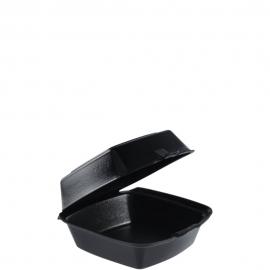 "Dart Insulated Black 6"" Sandwich Foam Hinged Container 5.9"" x 6"" x 3"" - 60HTB1 - 500/cs"