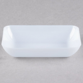 """Fineline Settings Tiny Temptations Plastic Rectangular Tray 3"""" Catering Supplies White - 6210WH - 200/cs"""