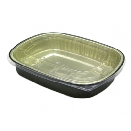 Pactiv 22 oz Carryout Tray with Black Foil Base with Clear Dome Lid - 6708WPSFG - 100/cs