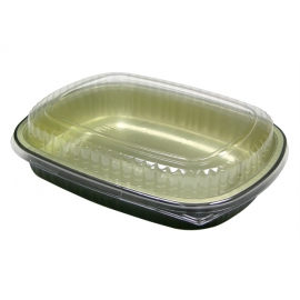 Pactiv 60 oz Carryout Tray with Black Foil Base with Clear Dome Lid - 6711WP - 50/cs