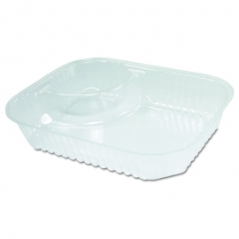 Dart Solo Clear 2 Compartment Nacho Tray Large No Lid - 68NT2 - 500/cs