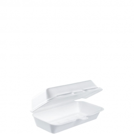 "Dart Insulated White Dog Foam Hinged Container 7.1"" x 3.8"" x 2.3"" - 72HT1 - 500/cs"