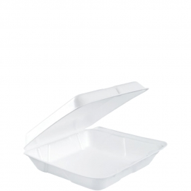 """Dart Insulated White 8"""" Foam Hinged Container 8"""" x 7.5"""" x 2.18"""" - 80HT1R - 200/cs"""