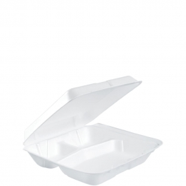 """Dart Insulated White 8"""" 3 Compartment Foam Hinged Container 8"""" x 7.5"""" x 2.18"""" - 80HT3R - 200/cs"""