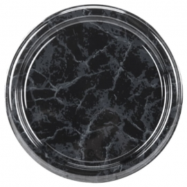 Sabert 12in Black Marble Flat Tray - 812 - 36/cs