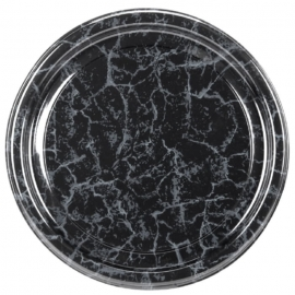 Sabert 18in Black Marble Flat Tray - 818 - 36/cs