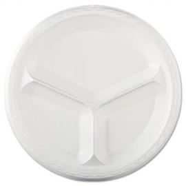 "Genpak Celebrity White 10.25"" Dinner 3 Compartment Foam Plates - 83100 - 500/cs"
