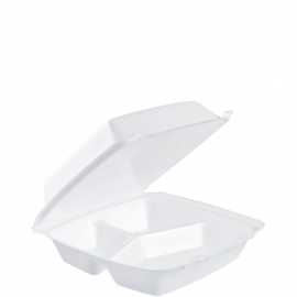 """Dart Insulated White Deep 8"""" 3 Compartment Foam Containers 8.37"""" x 8"""" x 3.18"""" - 85HT3R - 200/cs"""