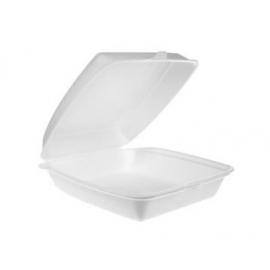"CKF FST2 Medium White Foam Hinged Container 8.7"" x 8"" x 3"" - 87501 - 200/cs"