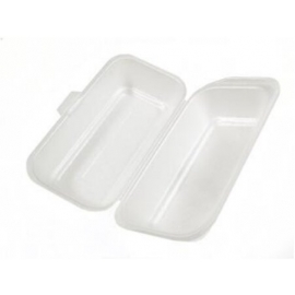"CKF SP8 Hot Dog White Foam Hinged Container 8"" x 4"" x 3"" - 87503 - 500/cs"