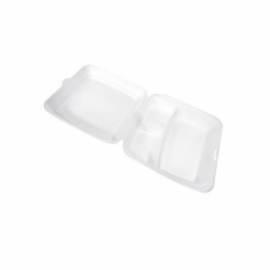"""CKF FST5A Large 3 Compartment White Foam Hinged Container 9.3"""" x 9.5"""" x 3"""" - 87510 - 200/cs"""