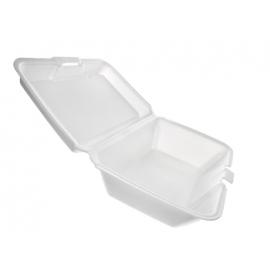 "CKF FST14 Medium Rectangle White Foam Hinged Container 6.2"" x 9.3"" x 2.8"" - 87514 - 200/bg"