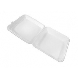 """CKF FST6 Large White Foam Hinged Container 9.5"""" x 10"""" x 3"""" - 87518 - 200/cs"""