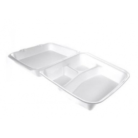 """CKF FST6A Large 3 Compartment White Foam Hinged Container 9.3"""" x 9.8"""" x 3"""" - 87519 - 200/cs"""