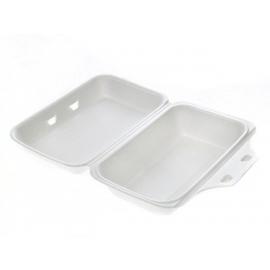 "CKF FST99 Medium Rectangle White Foam Hinged Container Bag 5.7"" x 8.9"" x 2.8"" - 875411 - 200/bg"