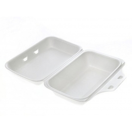 """CKF FST99 Medium Rectangle White Foam Hinged Container 5.7"""" x 8.9"""" x 2.8"""" - 87541 - 200/bx"""