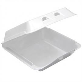 "CKF FST24 Medium Rectangle White Foam Hinged Container 8.1"" x 8.3"" x 2.9"" - 87544 - 200/cs"