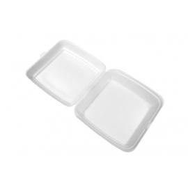 "CKF FST23 Medium Rectangle Shallow White Foam Hinged Container 7.6"" x 8.3"" x 2.2"" - 87545 - 200/cs"