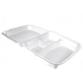 "CKF FST23-3C Medium Rectangle White Foam Hinged Container 8.3"" x 7.6"" x 2.3"" - 87547 - 200/cs"