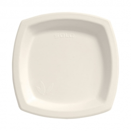 "Dart Solo Bare 8.25"" Sugarcane Bagasse Paper Plates Ivory - 8PSC-2050 - 500/cs"