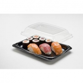 "Sabert 8"" x 6"" Black Snack Tray / Sushi Tray - 900608D300 - 300/cs"