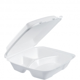 """Dart Insulated White 9"""" 3 Compartment Foam Hinged Container 9.4"""" x 9"""" x 3"""" - 90HT3R - 200/cs"""