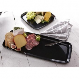 Sabert Mozaïk 9in x 22in Black Large Rectangle Plastic Platter - 9322 - 25/cs
