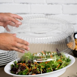 """Fineline Settings Clear Plastic Oval Dome Lid 14""""x21"""" Speciality Food Service Supplies - 9514-L - 40/cs"""