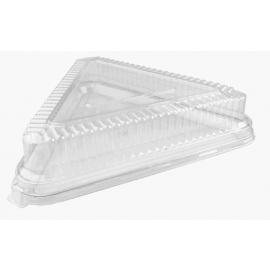 """Fineline Settings Clear Plastic Triangle Dome Lid 16""""x16""""x16"""" Speciality Food Service Supplies - 9561L - 40/cs"""