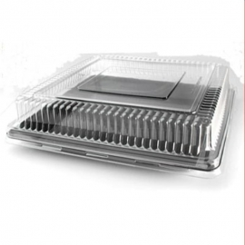"""Fineline Settings Clear Plastic Square Dome Lid 18""""x18"""" Speciality Food Service Supplies - 9581-L - 40/cs"""