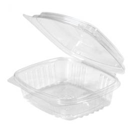 "Genpak 8 oz High Dome Plastic Hinged Container 5.38"" x 4.5"" x 2 - AD08F - 200/cs"