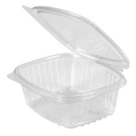 "Genpak Clear 12 oz Plastic Hinged Container 5.38"" x 4.5"" x 2.5"" - AD12 - 200/cs"