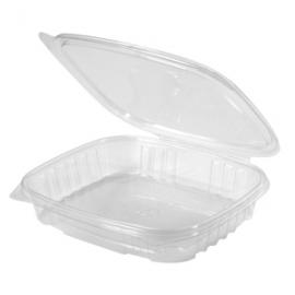 Genpak Shallow 16 oz Plastic Hinged Container - AD16S - 200/cs