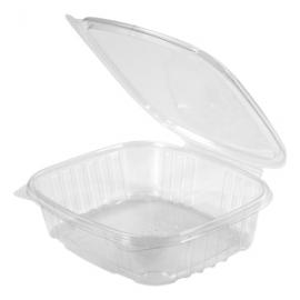 "Genpak Clear 24 oz Plastic Hinged Container 7.25"" x 6.38"" x 2.25"" - AD24 - 200/cs"