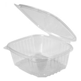 "Genpak Clear 32 oz Plastic Hinged Container 7.25"" x 6.38"" x 2.63"" - AD32 - 200/cs"