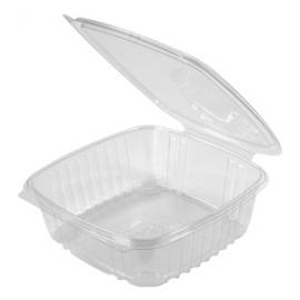 "Genpak Clear 48 oz Plastic Hinged Container 8 x 8.5"" x 2.5"" - AD48 - 200/cs"