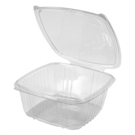"Genpak Clear 16 oz Plastic Hinged Container 8 x 8.5"" x 3.25"" - AD64 - 200/cs"